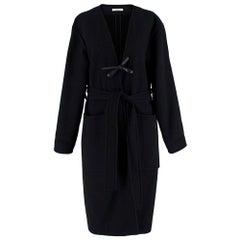 Celine Black & Navy Wool Belted Coat 40