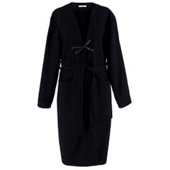 Celine Black & Navy Wool Belted Coat - Size US 8