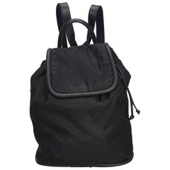 Celine Black Nylon Fabric Drawstring Backpack Italy
