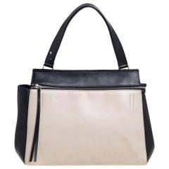 Celine Black/Off White Leather Medium Edge Bag