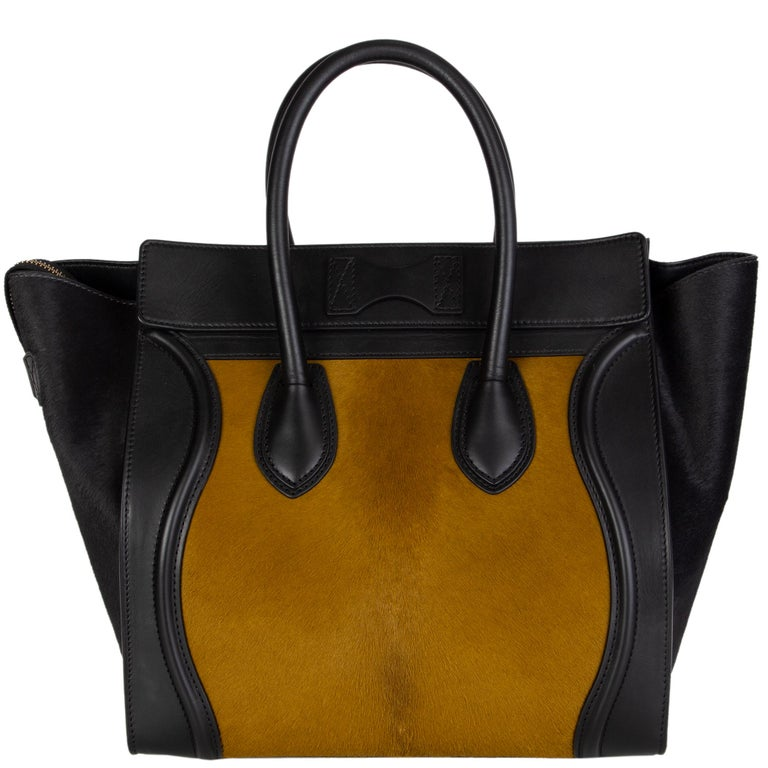 Black CELINE black & olive CALF HAIR MINI LUGGAGE Tote Shoulder Bag For Sale