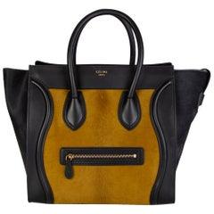 CELINE black & olive CALF HAIR MINI LUGGAGE Tote Shoulder Bag
