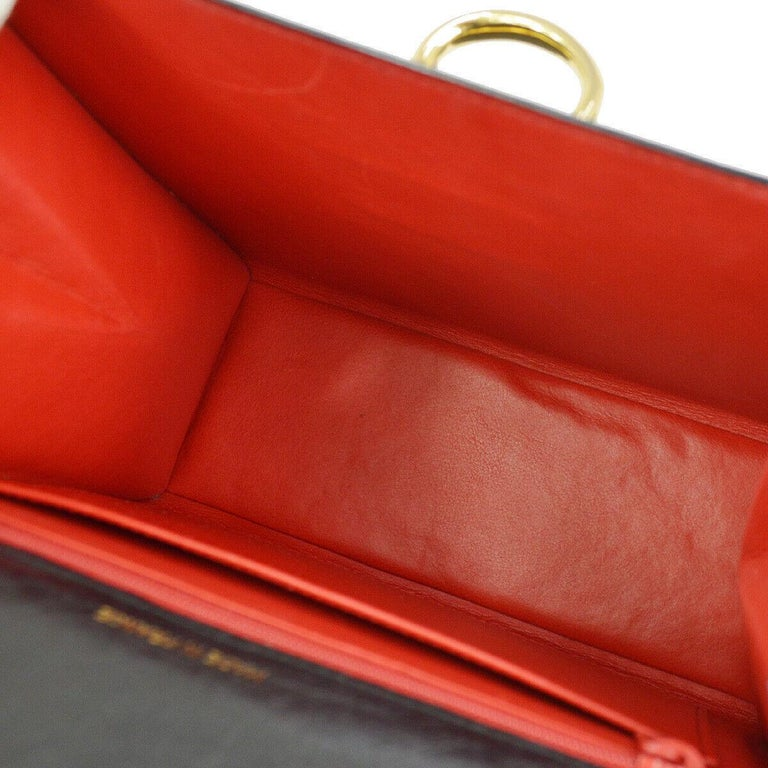 Celine Black Ostrich Leather Toggle Kelly Style Evening Top Handle Satchel Bag 2
