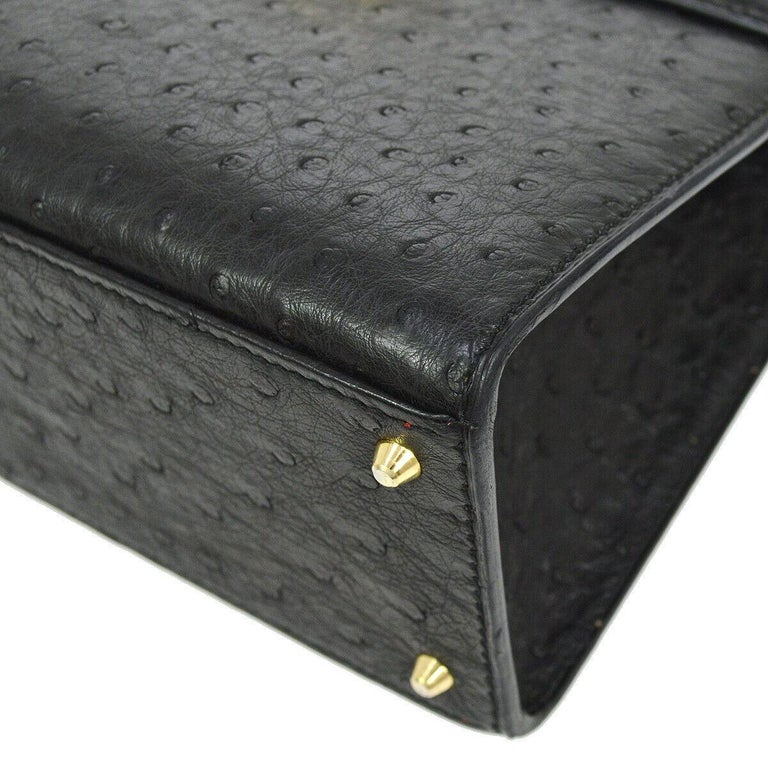 Celine Black Ostrich Leather Toggle Kelly Style Evening Top Handle Satchel Bag 1