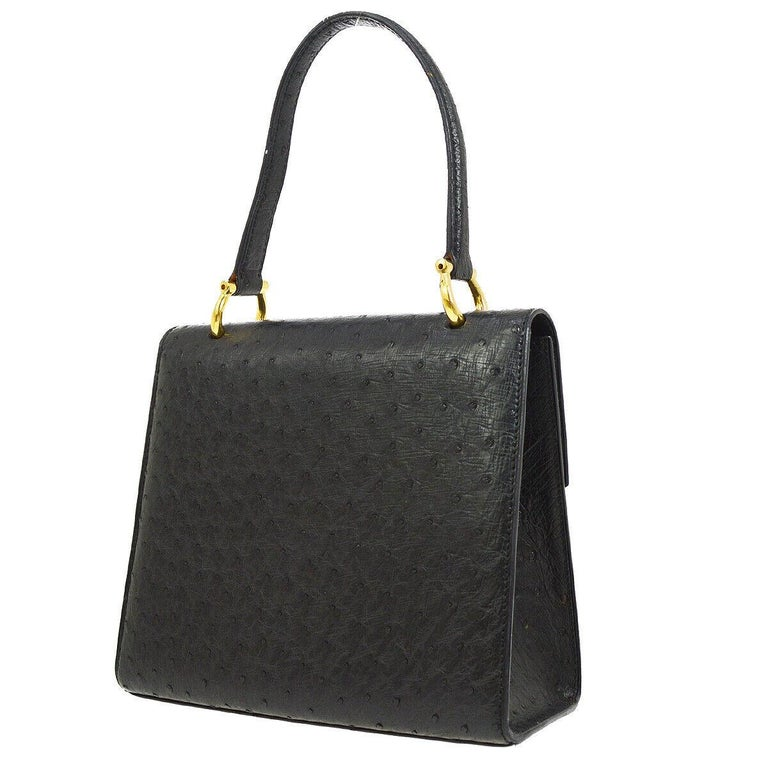 Celine Black Ostrich Leather Toggle Kelly Style Evening Top Handle Satchel Bag In Good Condition In Chicago, IL