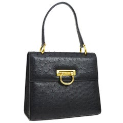 Celine Black Ostrich Leather Toggle Kelly Style Evening Top Handle Satchel Bag