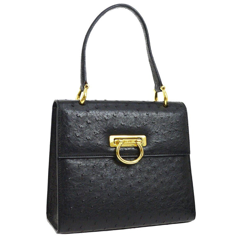 Celine Black Ostrich Leather Toggle Kelly Style Evening Top Handle Satchel Bag