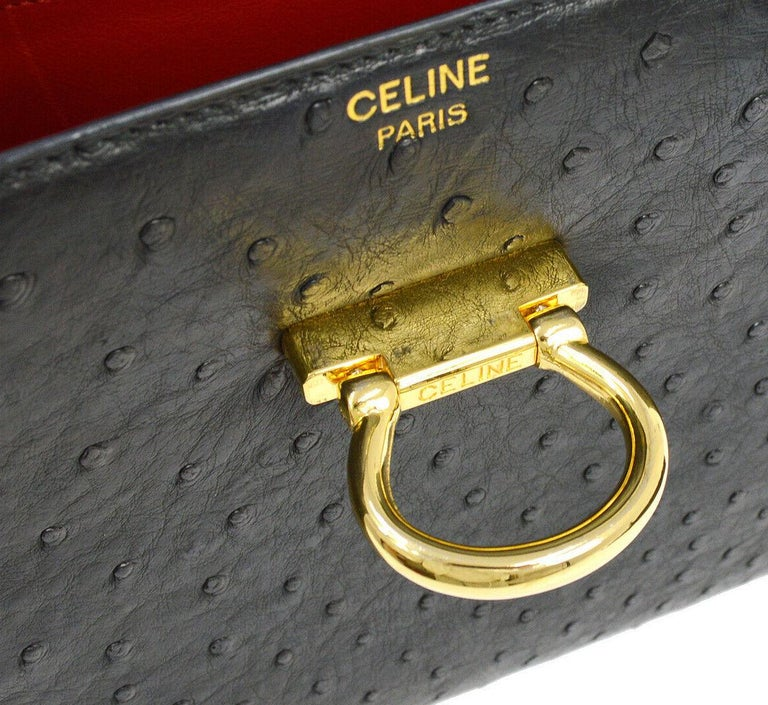 Celine Black Ostrich Exotic Leather Gold Toggle Kelly Style Evening Top Handle Satchel Flap Bag  Ostrich leather Gold tone hardware Leather lining Made in Italy Handle drop 6.75