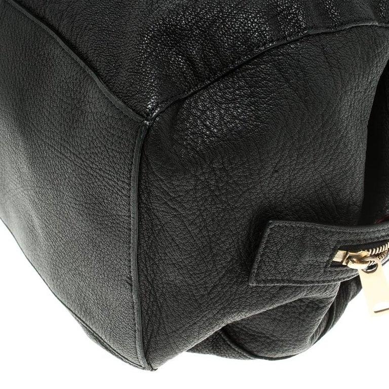 Celine Black Pebbled Leather Triple Zip Satchel For Sale 6