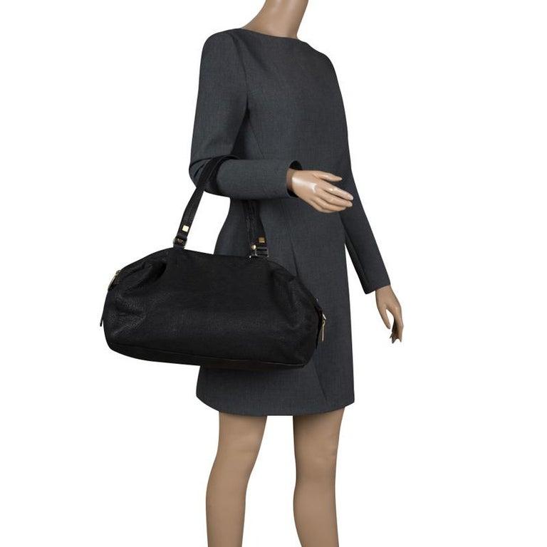 Celine Black Pebbled Leather Triple Zip Satchel In Good Condition For Sale In Dubai, Al Qouz 2