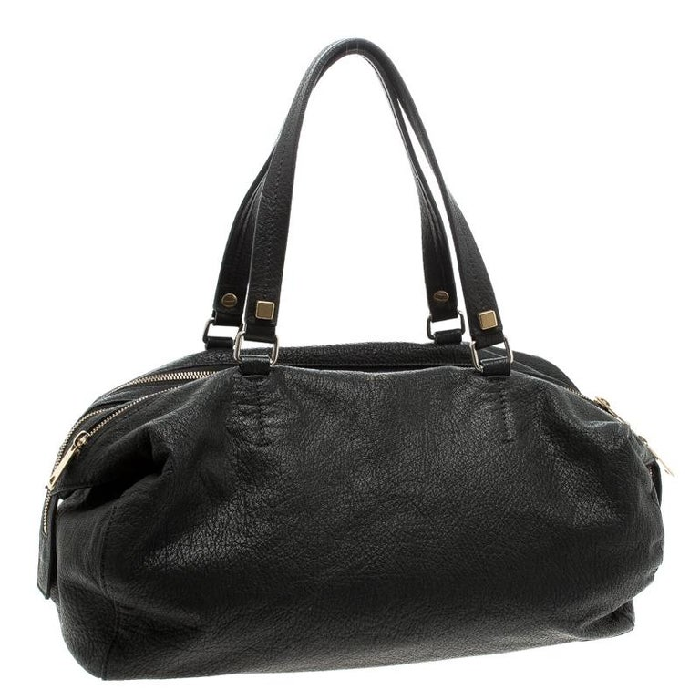 Women's Celine Black Pebbled Leather Triple Zip Satchel For Sale