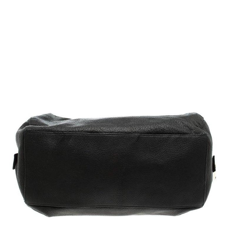 Celine Black Pebbled Leather Triple Zip Satchel For Sale 1