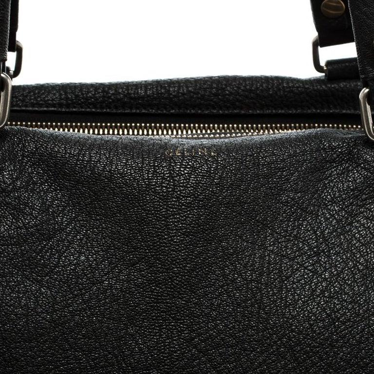 Celine Black Pebbled Leather Triple Zip Satchel For Sale 2