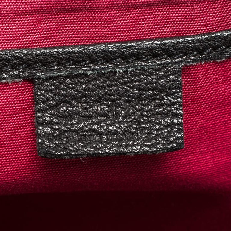 Celine Black Pebbled Leather Triple Zip Satchel For Sale 4