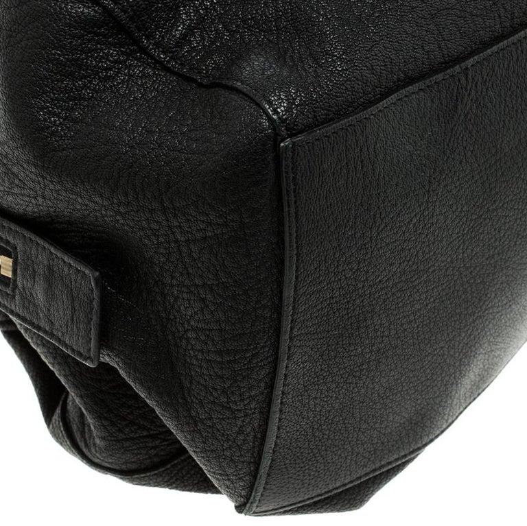 Celine Black Pebbled Leather Triple Zip Satchel For Sale 5