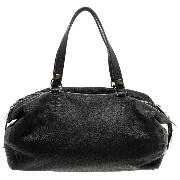 Celine Black Pebbled Leather Triple Zip Satchel For Sale