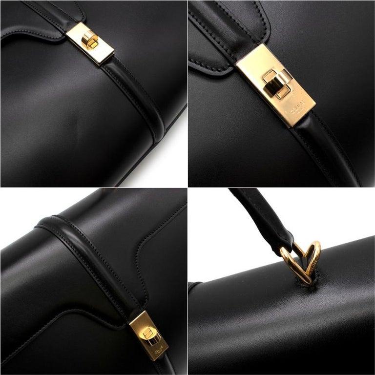 Celine Black Satinated Calfskin Medium 16 Bag For Sale 2