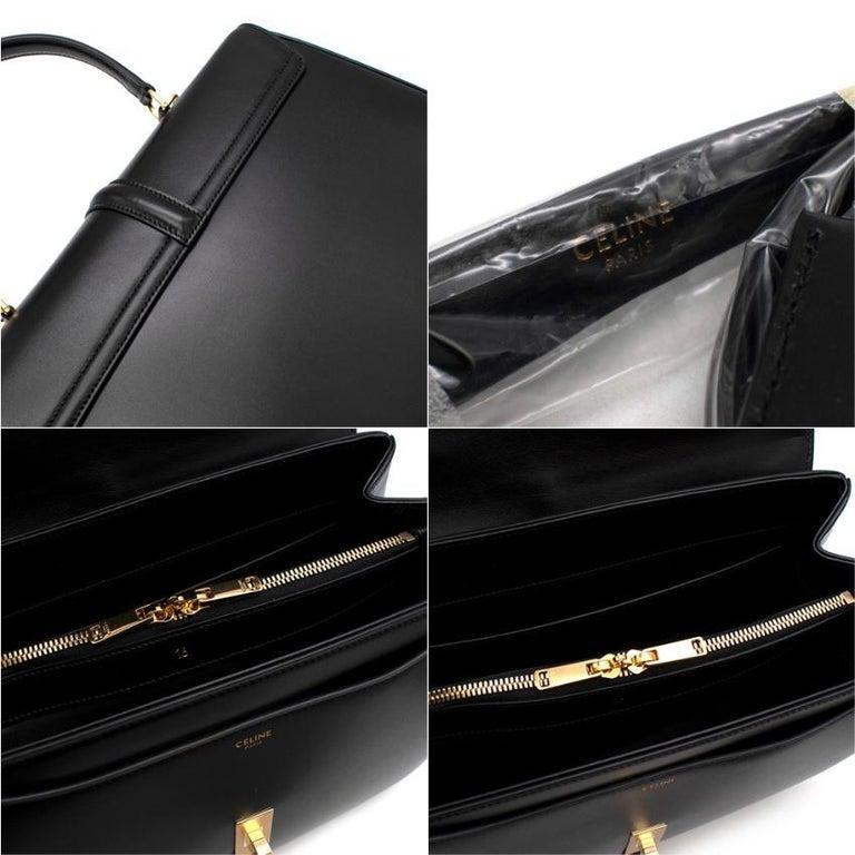Celine Black Satinated Calfskin Medium 16 Bag For Sale 3