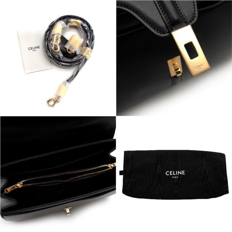 Celine Black Satinated Calfskin Medium 16 Bag For Sale 4