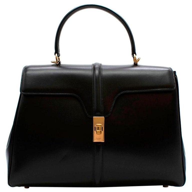 Celine Black Satinated Calfskin Medium 16 Bag For Sale
