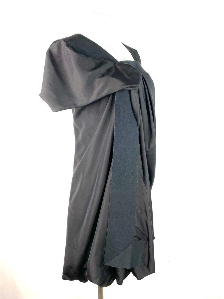 Women's Celine Black Silk Mini Dress, Size 42 For Sale