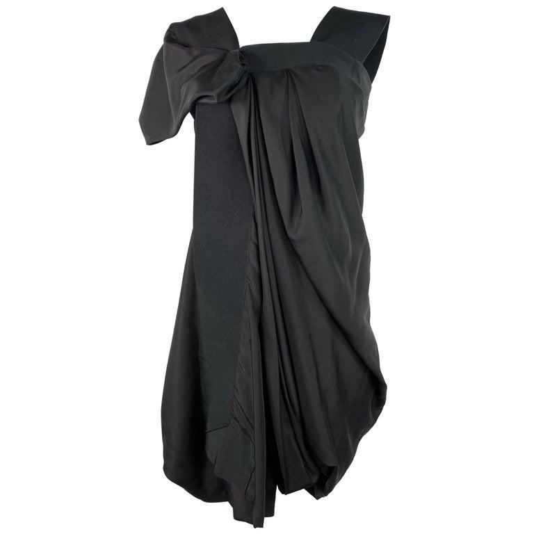 Celine Black Silk Mini Dress, Size 42 For Sale