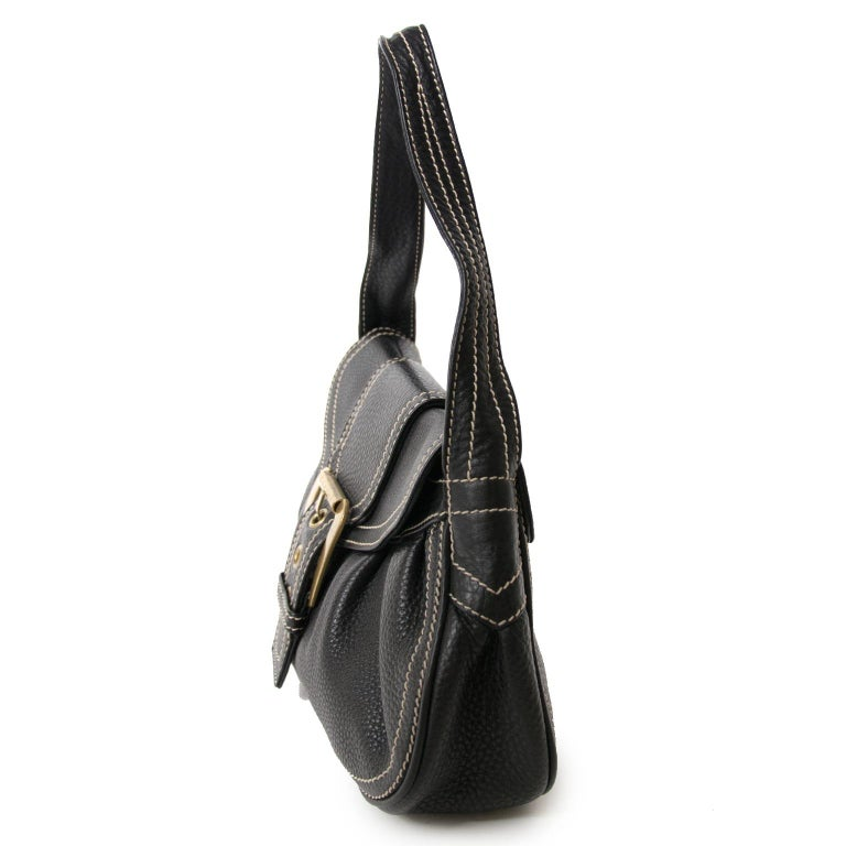 Women's Céline Black Stiched Leather Buckle Shoulder Bag