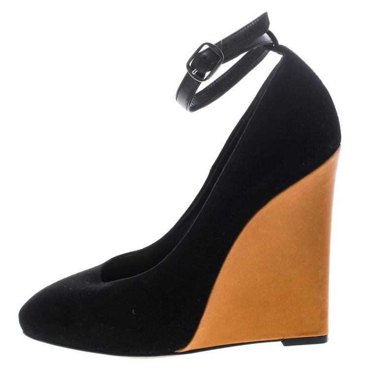91fa0f624 Cèline Black Suede Color Block Wedge Ankle Strap Pumps Size 38 For Sale.  Super-comfortable and loaded with style, this pair of Cèline pumps will  make your