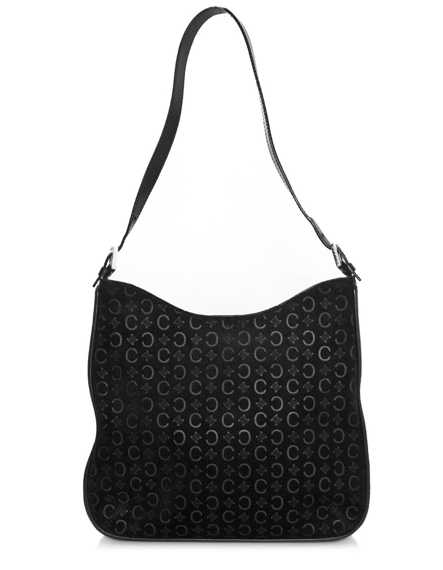 f5ab712b27 Celine Black Suede Embossed C Logo Shoulder Bag For Sale at 1stdibs