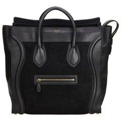 Celine Black Suede Leather Luggage Tote Bag France
