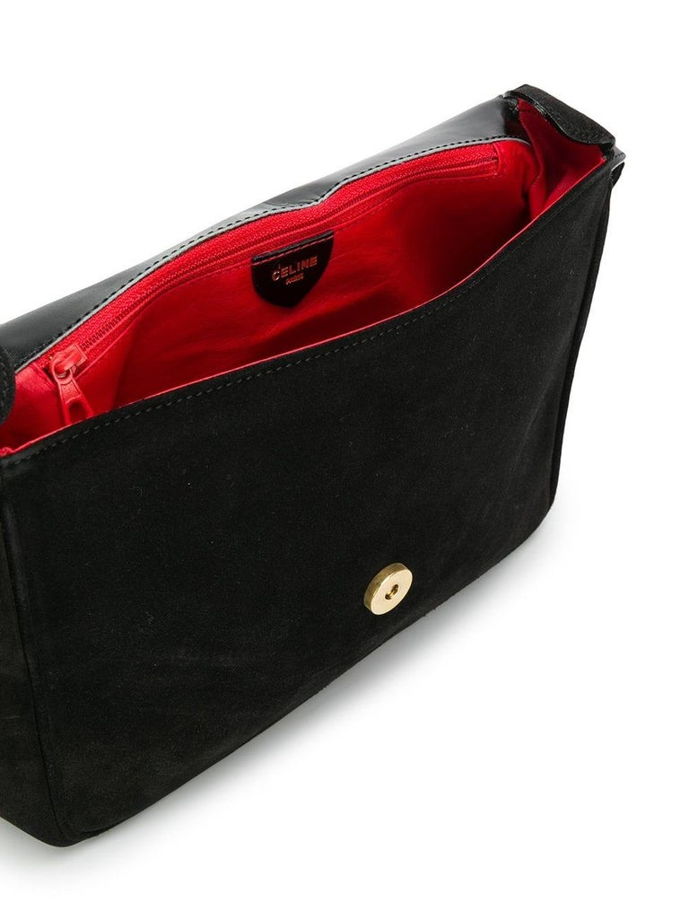 Women's Céline Black Suede Shoulder Bag For Sale