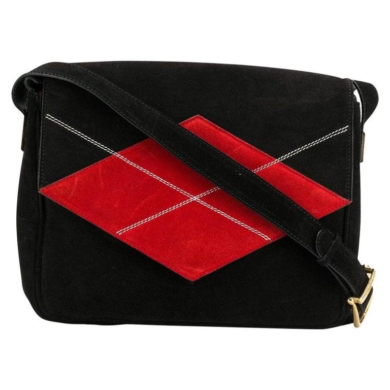 Céline Black Suede Shoulder Bag For Sale