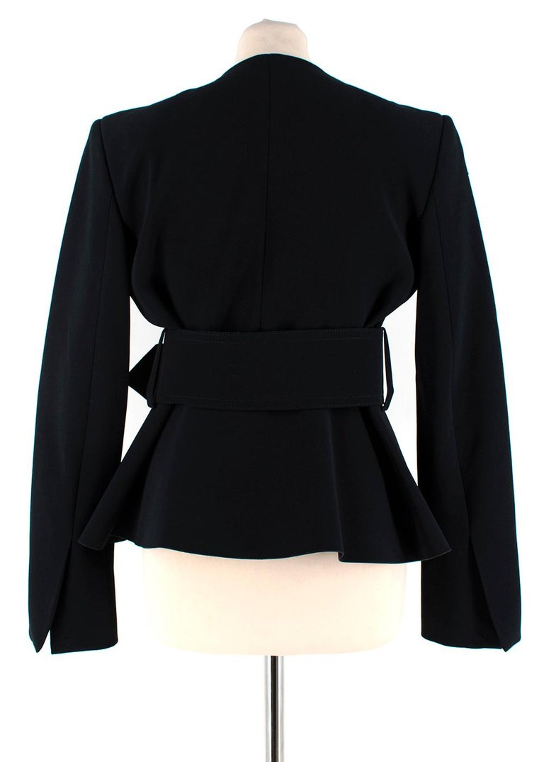 Celine Black Tailored Peplum Belted Jacket  In Excellent Condition For Sale In London, GB
