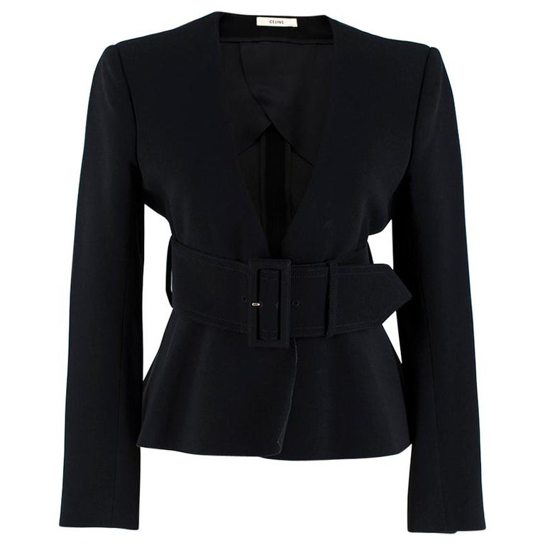 Celine Black Tailored Peplum Belted Jacket  For Sale