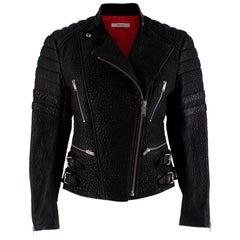 Celine Black Textured Lambskin Biker Jacket - Size US 6
