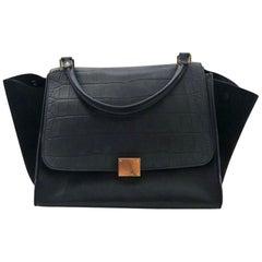 Celine Black Trapeze Medium Size Bag with Embossed Crocodile Flap