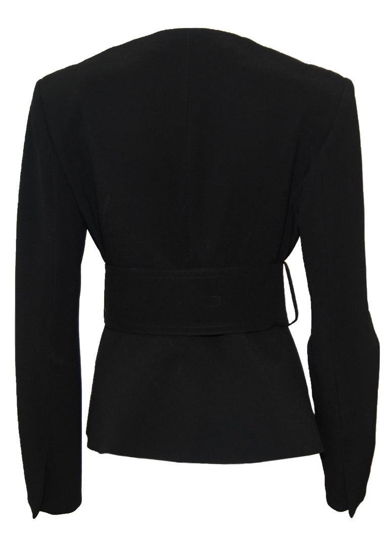 Celine Black V Neck Belted Jacket With Peplum 2012 Spring Paris Collection 40 EU In Excellent Condition For Sale In Palm Beach, FL