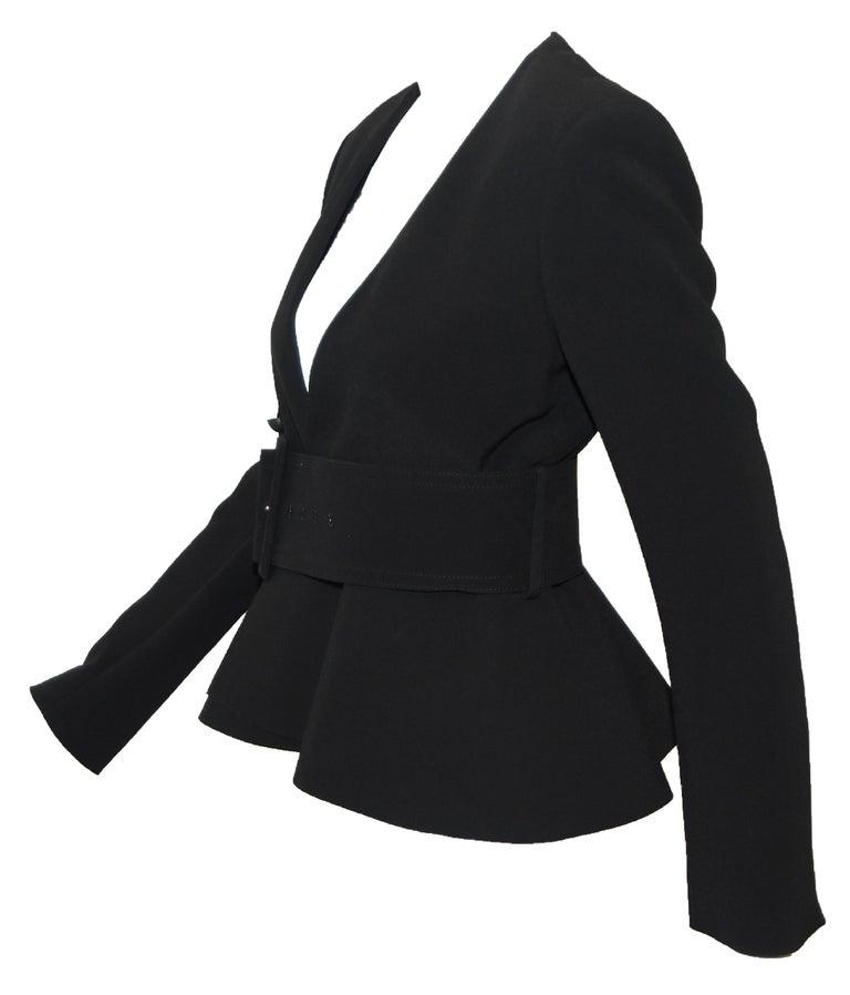Women's Celine Black V Neck Belted Jacket With Peplum 2012 Spring Paris Collection 40 EU For Sale