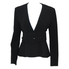 Celine Black V Neck Belted Jacket With Peplum 2012 Spring Paris Collection 40 EU