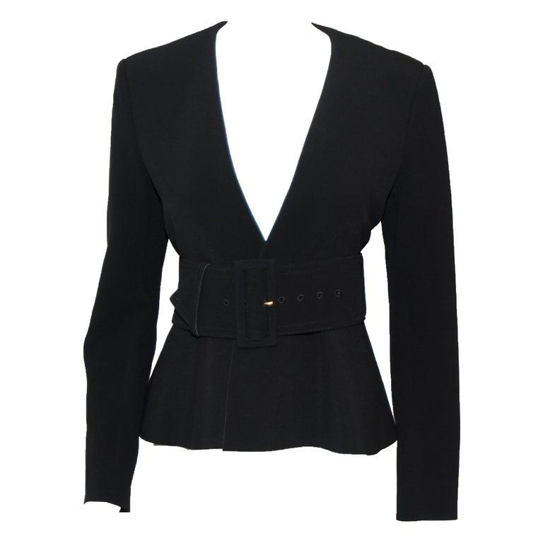 Celine Black V Neck Belted Jacket With Peplum 2012 Spring Paris Collection 40 EU For Sale