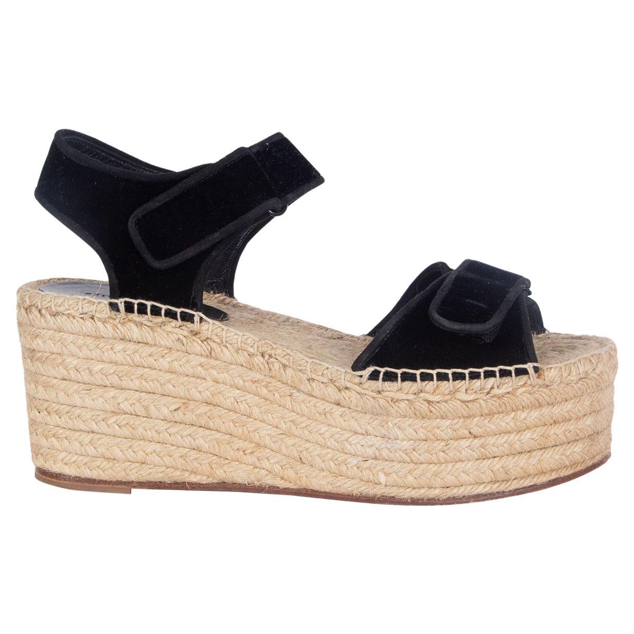CELINE black velvet SCRATCH Velcro Espadrille Sandals Shoes 40