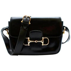 Celine Black Vintage Box Leather Horsebit Shoulder Bag