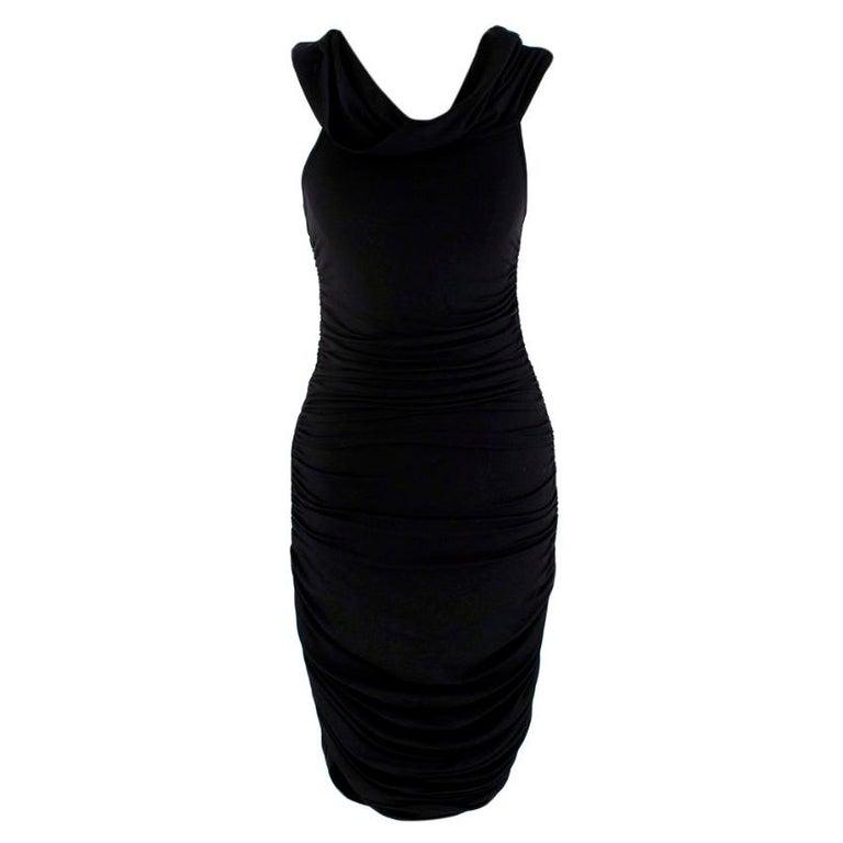 Celine Black Vintage Ruched Fitted Dress - Size M  For Sale