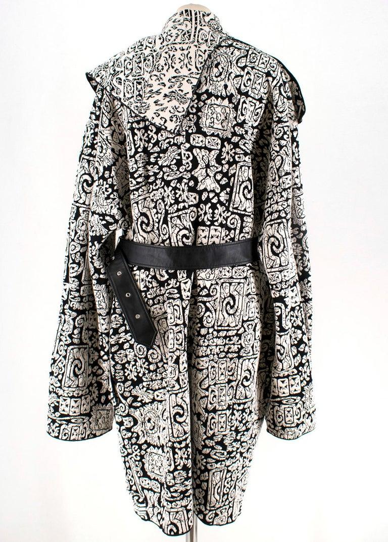 Gray Celine Black & White Knit Jacquard Coat 38 For Sale
