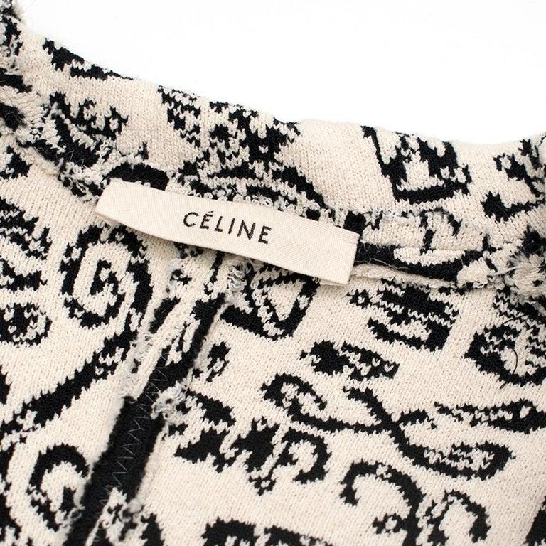 Women's Celine Black & White Knit Jacquard Coat 38 For Sale