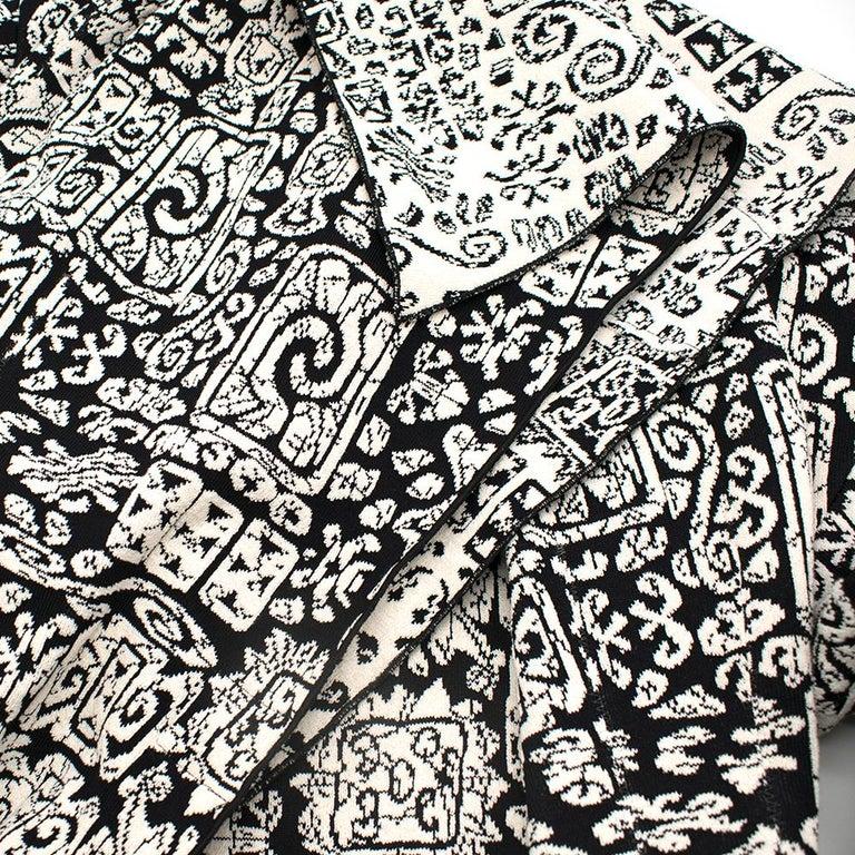 Celine Black & White Knit Jacquard Coat 38 For Sale 1