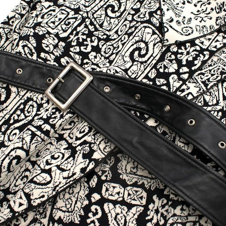 Celine Black & White Knit Jacquard Coat 38 For Sale 2