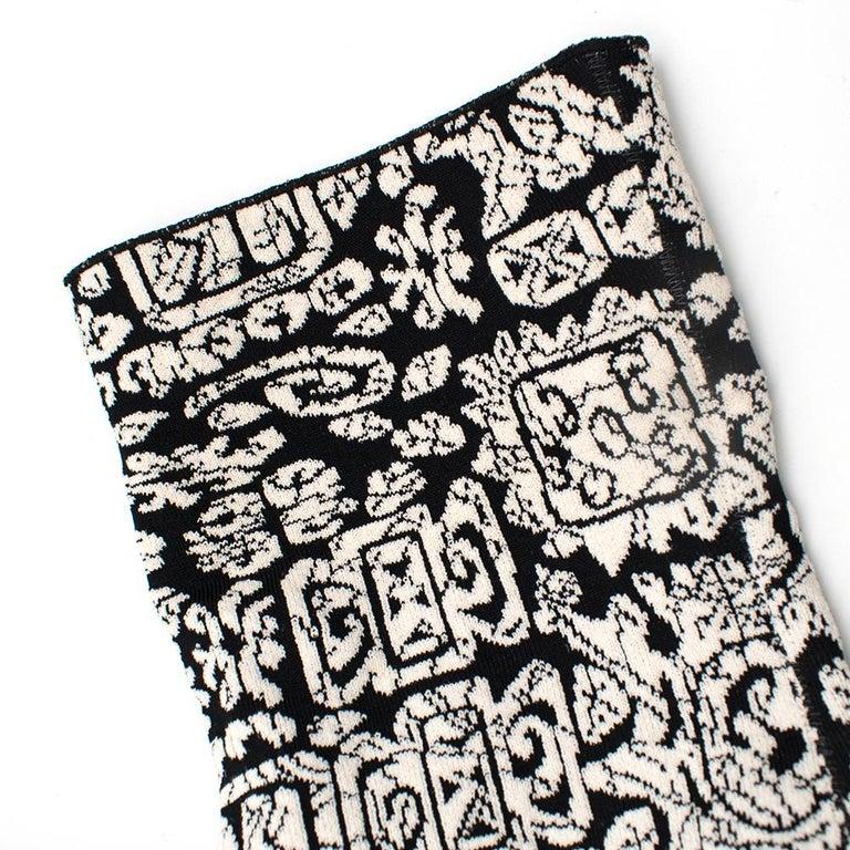 Celine Black & White Knit Jacquard Coat 38 For Sale 3