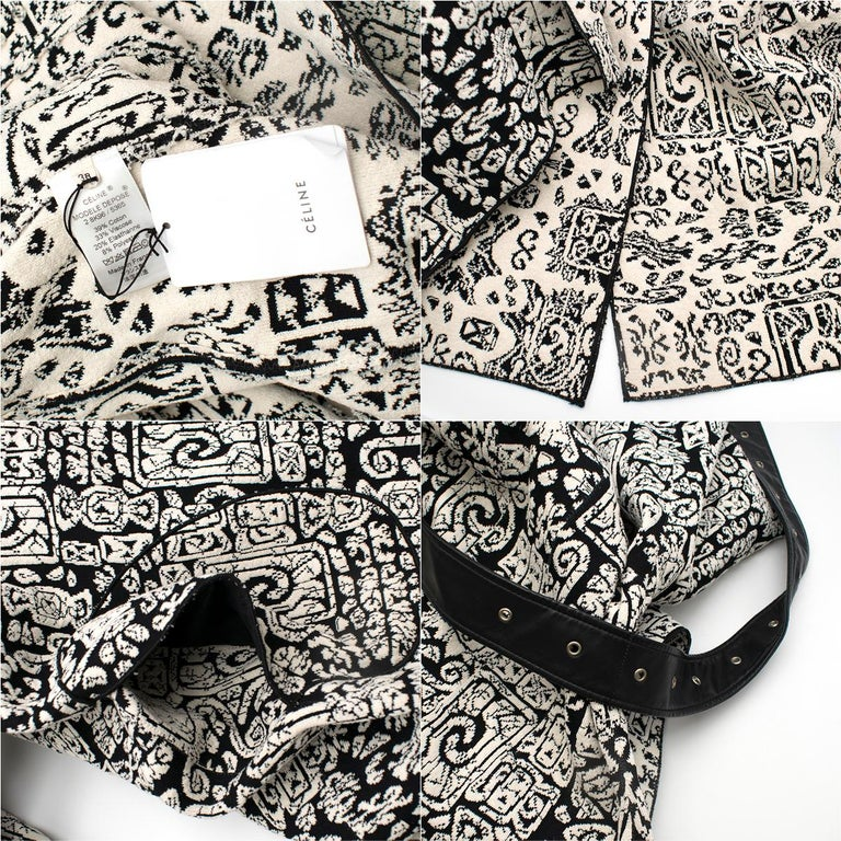 Celine Black & White Knit Jacquard Coat 38 For Sale 4