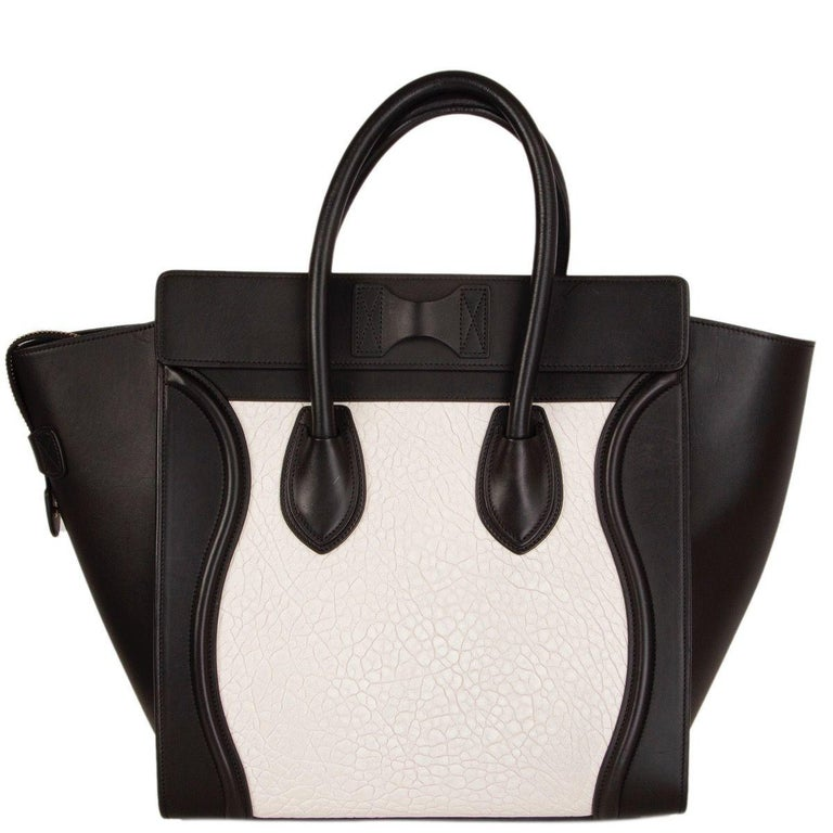 Black CELINE black & white  leather MINI LUGGAGE Tote Shoulder Bag For Sale